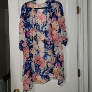 Floral print, Kimono style cardigan, flow sleeves